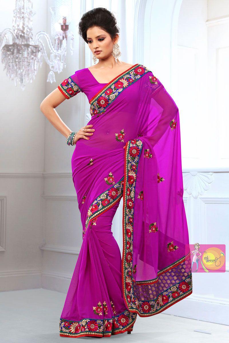 Dark Purple georgette printed saree with fancy embroidered pallu ...