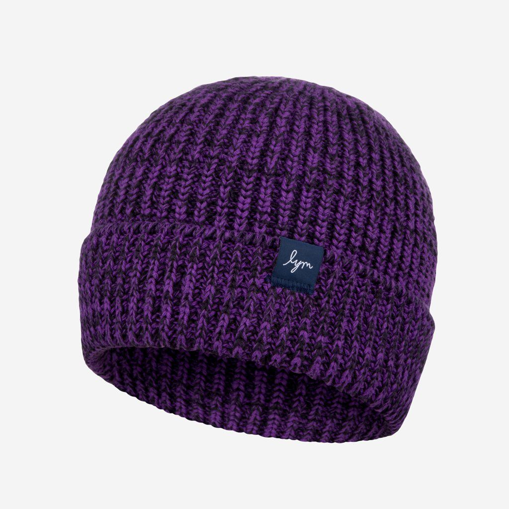 5b288c483e9 Purple and Black Speckled Lightweight Beanie