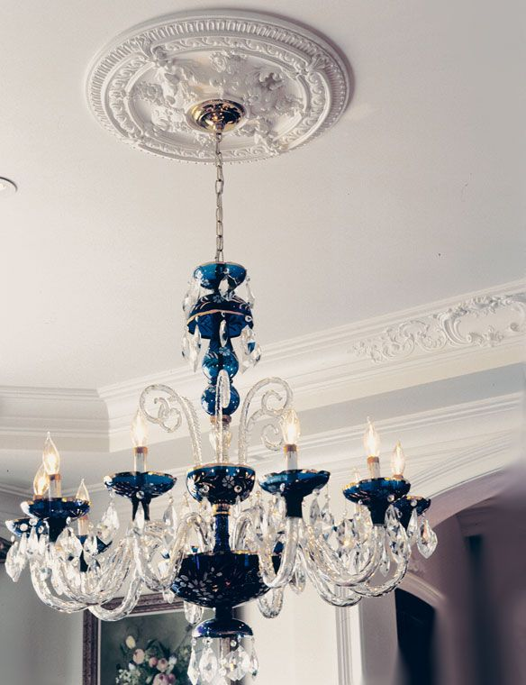 Gorgeous Ceiling Medallion With Venetian Glass Chandelier