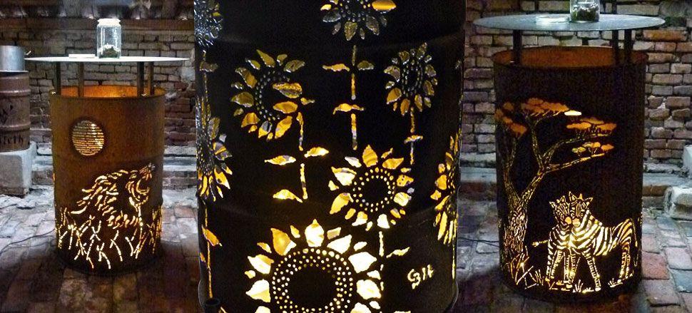 feuertonne und dekorativ beleuchtete stehtische feuertonne pinterest feuertonnen. Black Bedroom Furniture Sets. Home Design Ideas