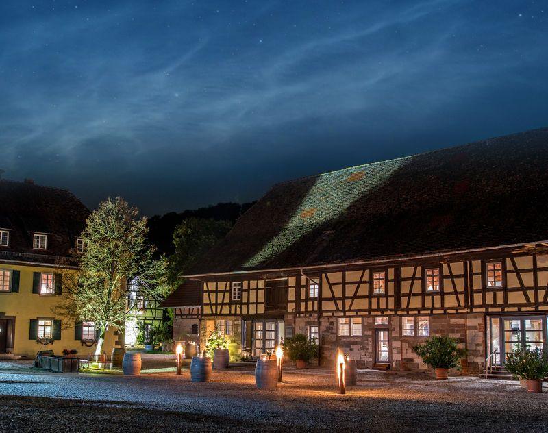 Weingut Steinbachhof: Historisches Fachwerk umgeben von