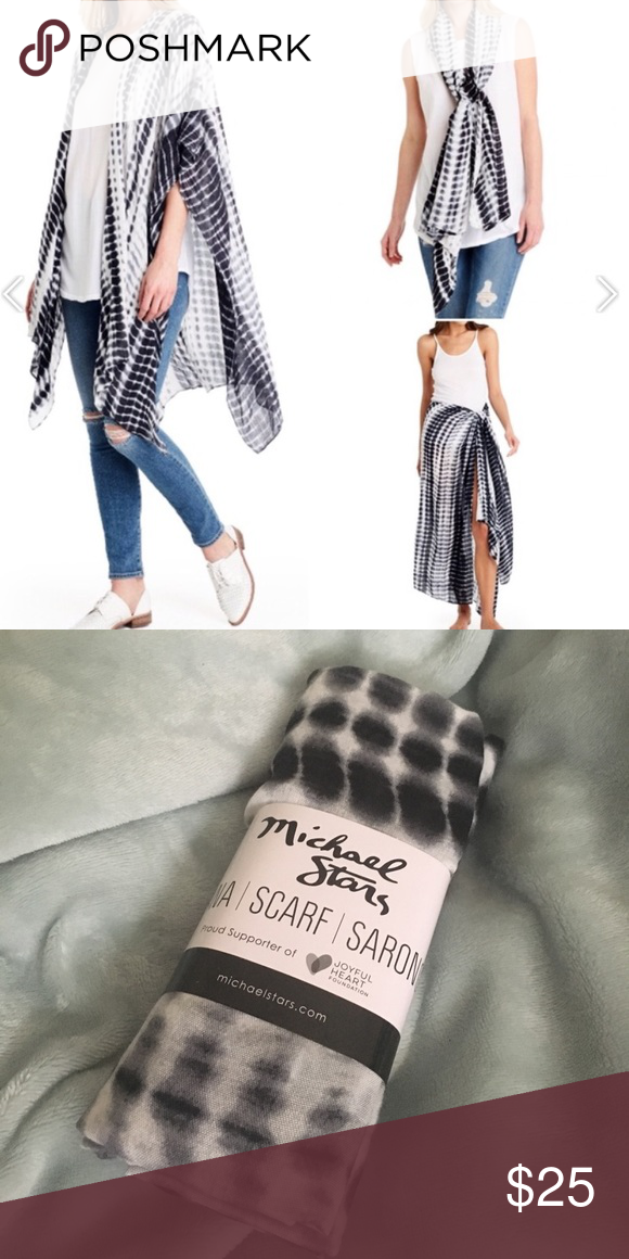 (NWT) Michael Stars ruana scarf, sarong (NWT) Michael Stars ruana, scarf, sarong - can be styled at least 3 different ways! Black / white alligator tie dye, very soft - 100% viscose, retails for $54 Michael Stars Accessories