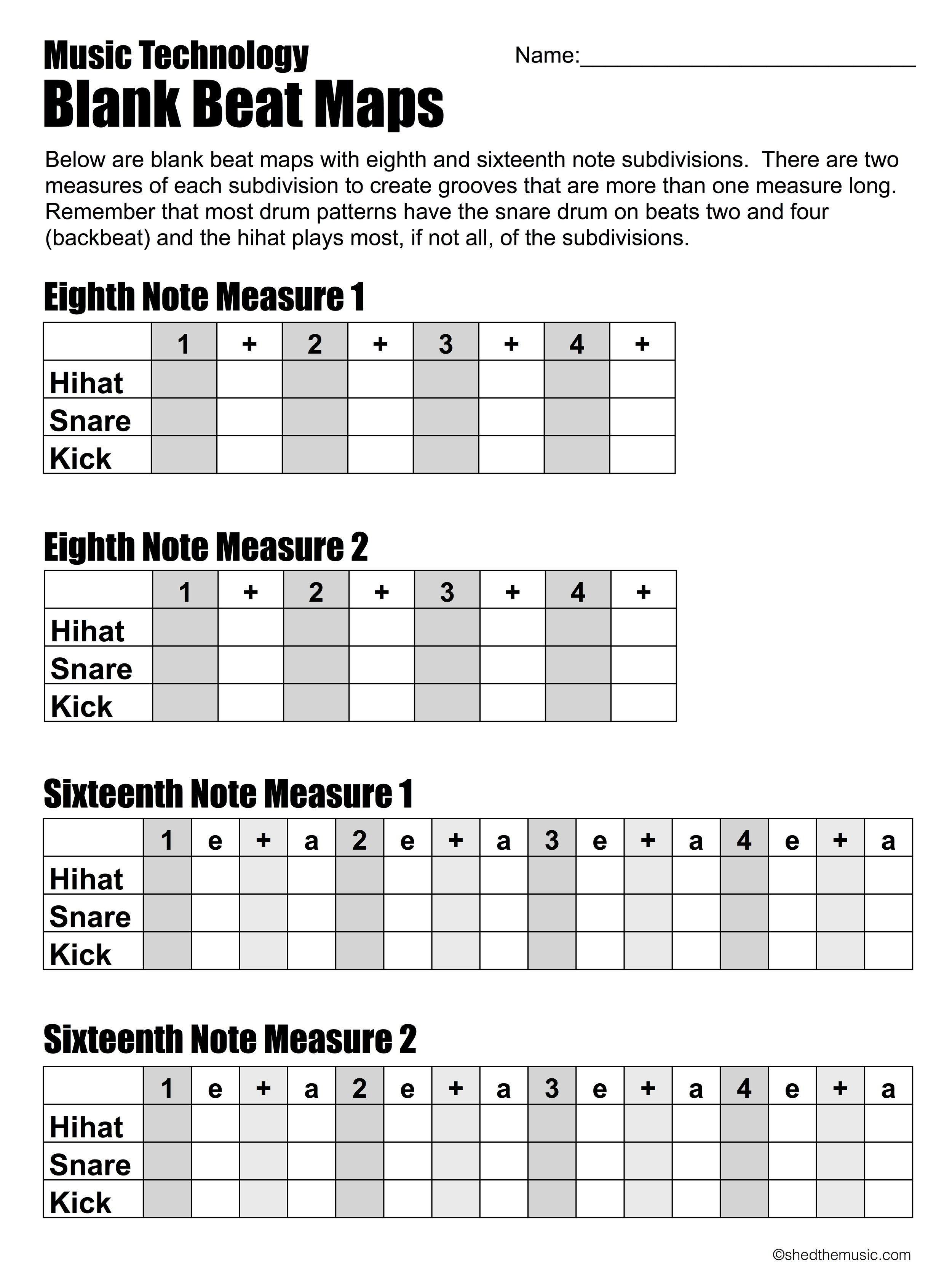 Blank Beat Maps The Shed Music Theory Music Technology Mood