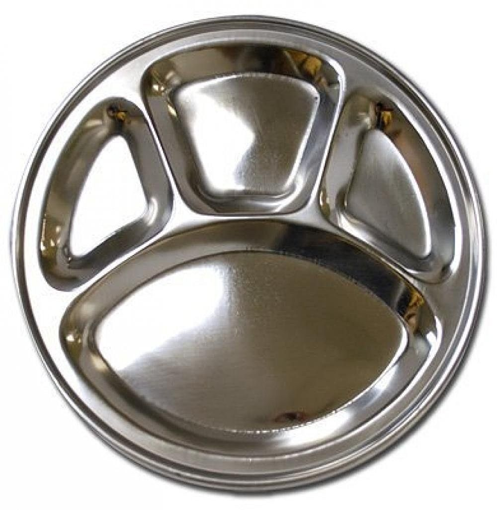 Amazon.com | Stainless Steel Round Divided Dinner Plate 4 sections Aluminum Meal Tray Dinner Plates  sc 1 st  Pinterest & Amazon.com | Stainless Steel Round Divided Dinner Plate 4 sections ...