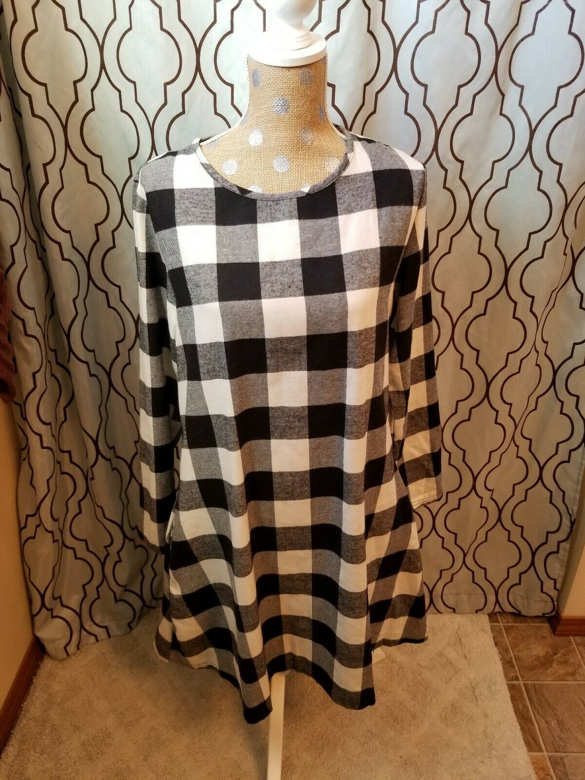 130285 Black /& White Mod Houndstooth Dress Retro Classic Sourpuss X-Large XL