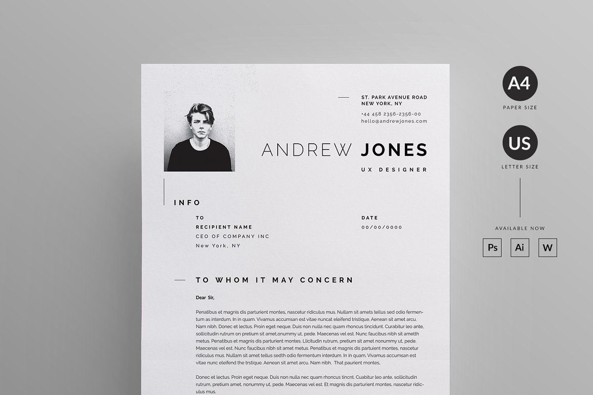 Resume/CV Unique resume template, Letterhead design
