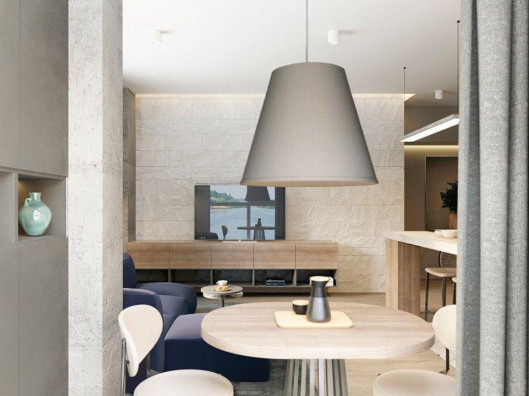 Lampadari moderni soggiorno insieme ad una sala da pranzo arredata con tavolo di legno e due - Lampadari sala da pranzo ...
