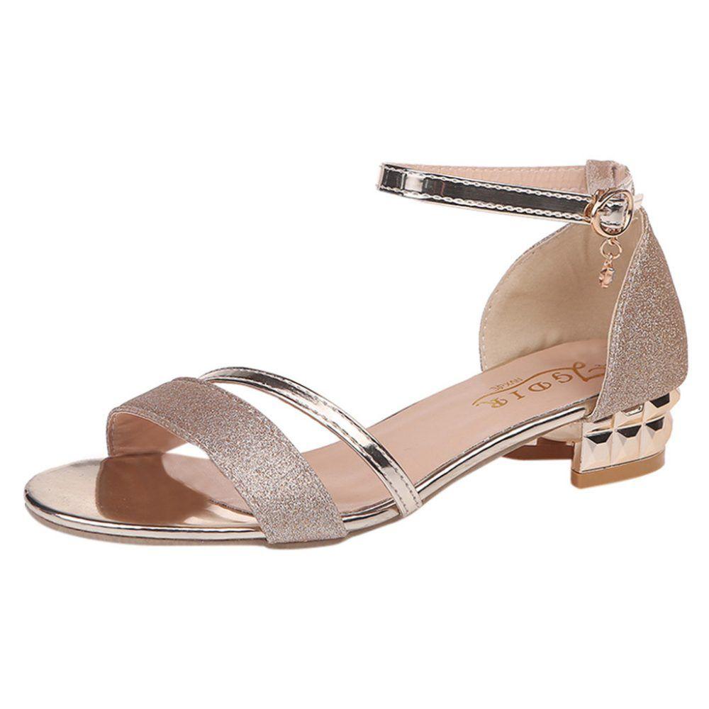 Sandals Female Summer Open Toe Buckle Roman Shoes Med Heels Women Chunky Sandals,Beige,9