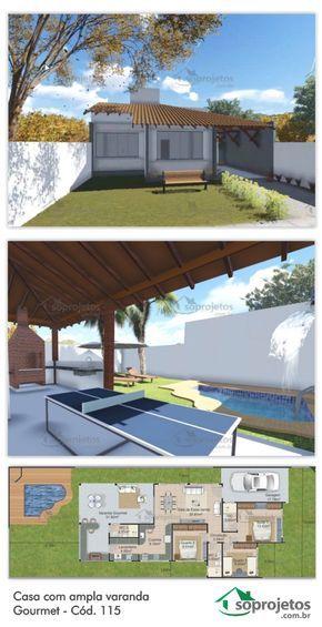 Casa com ampla varanda gourmet c d 115 en 2018 todo - Total 3d home and landscape design suite ...