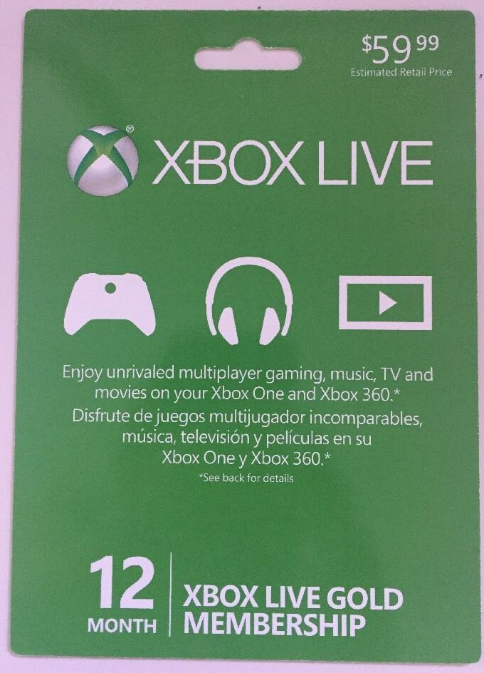 XBOX Live Gold Membership 12 Month Unopened Gift card FREE ...
