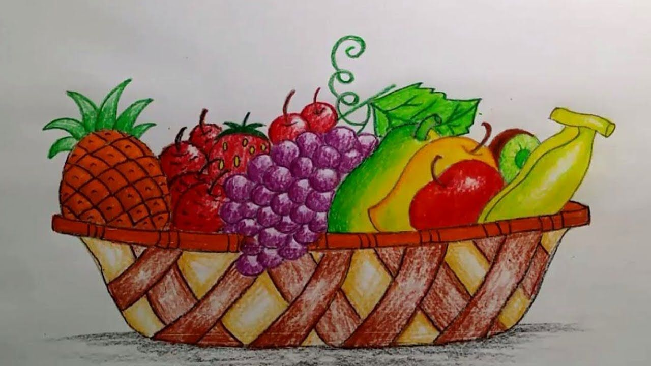 How To Draw A Beautiful Fruit Basket Step By Step Very Easy