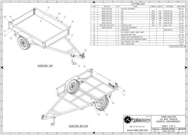 Box trailer plans blueprints trailer plans isometric