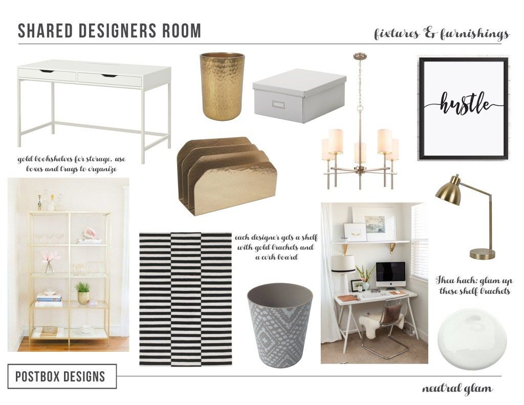 neutral office decor. Neutral Glam Home Office By Postbox Designs E-Design, Decor Ideas, Mood Board, Ikea Hacks, E-design U