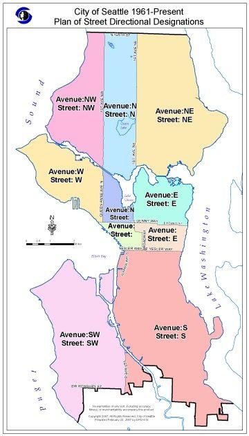 City of Seattle 1961present street directional designation map