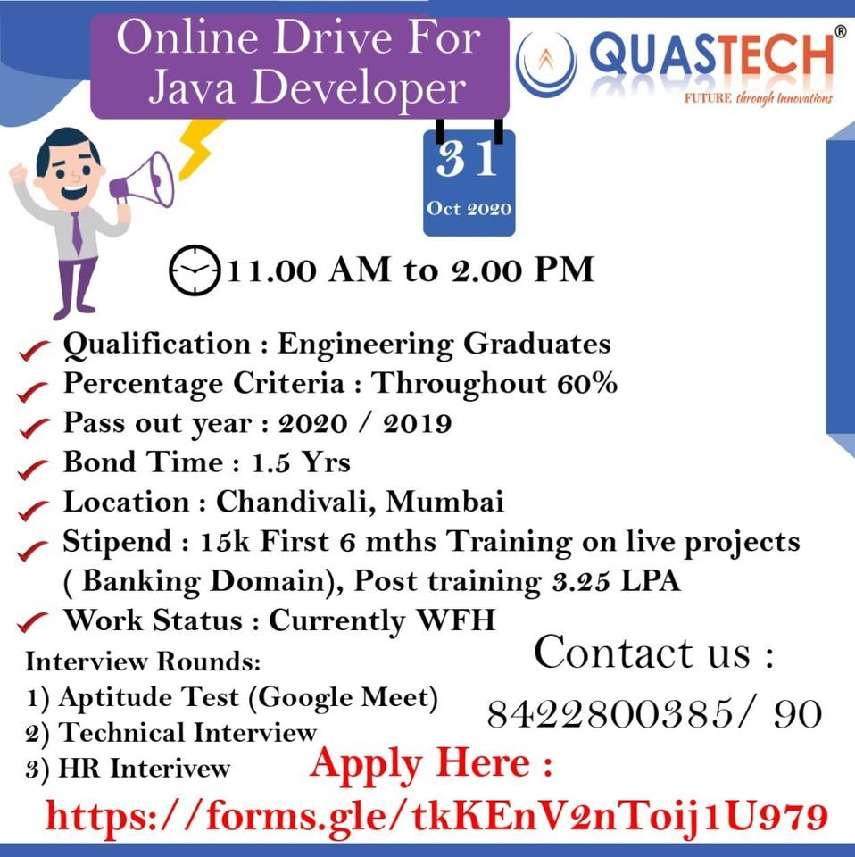 Quastech Conduct Online Drive For Java Developer Development How To Apply Driving