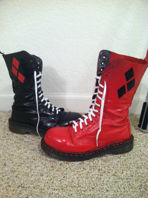 9fc743e0913 Boots + spray paints + leather cut outs + glue   Perfect for Harley Quinn  cosplay