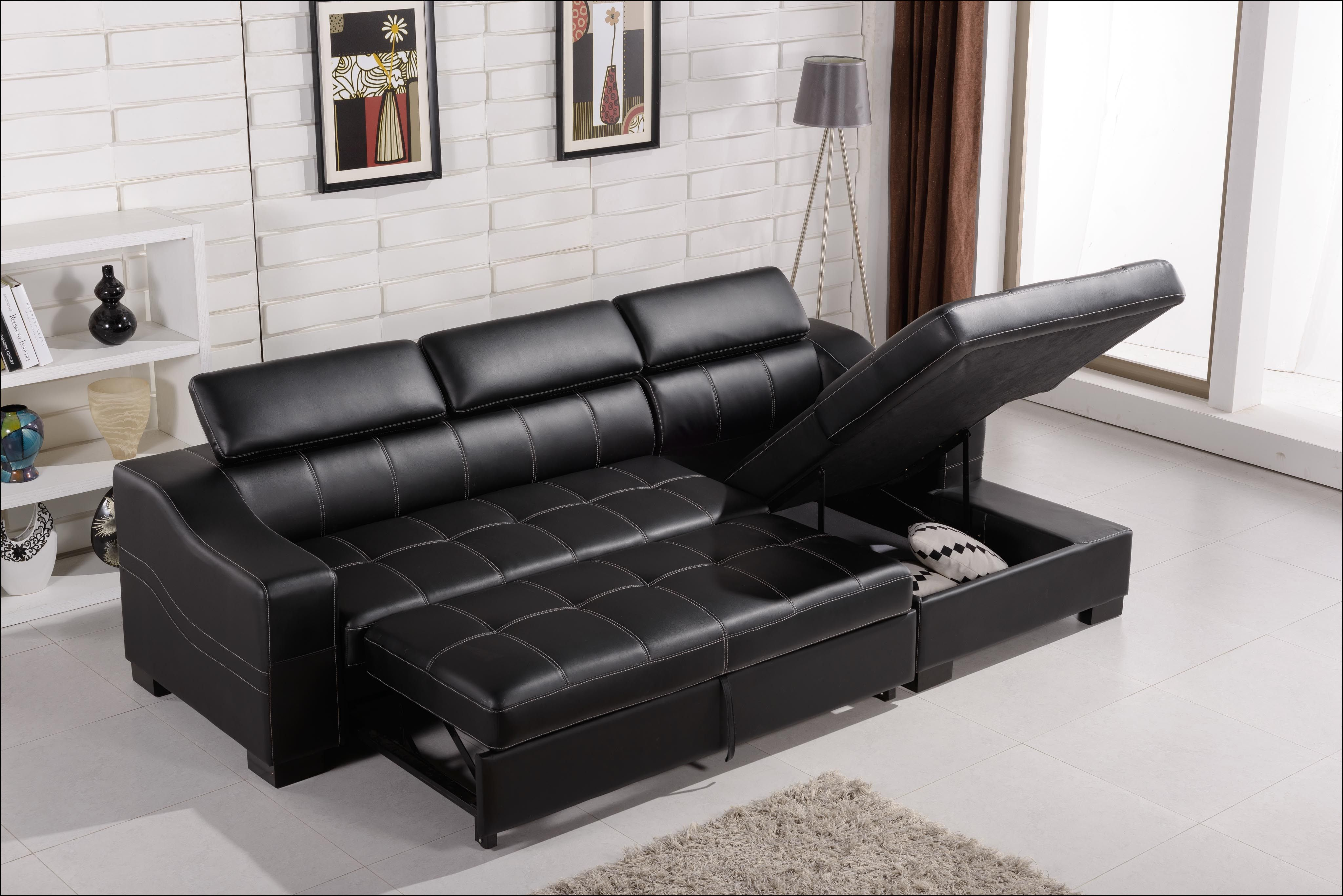 Sofas That Turn Into Beds Black Leather Sofa Bed Leather Sofa
