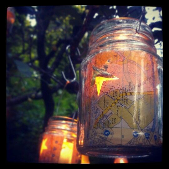Coffee jar lanterns; perfect for summer parties.