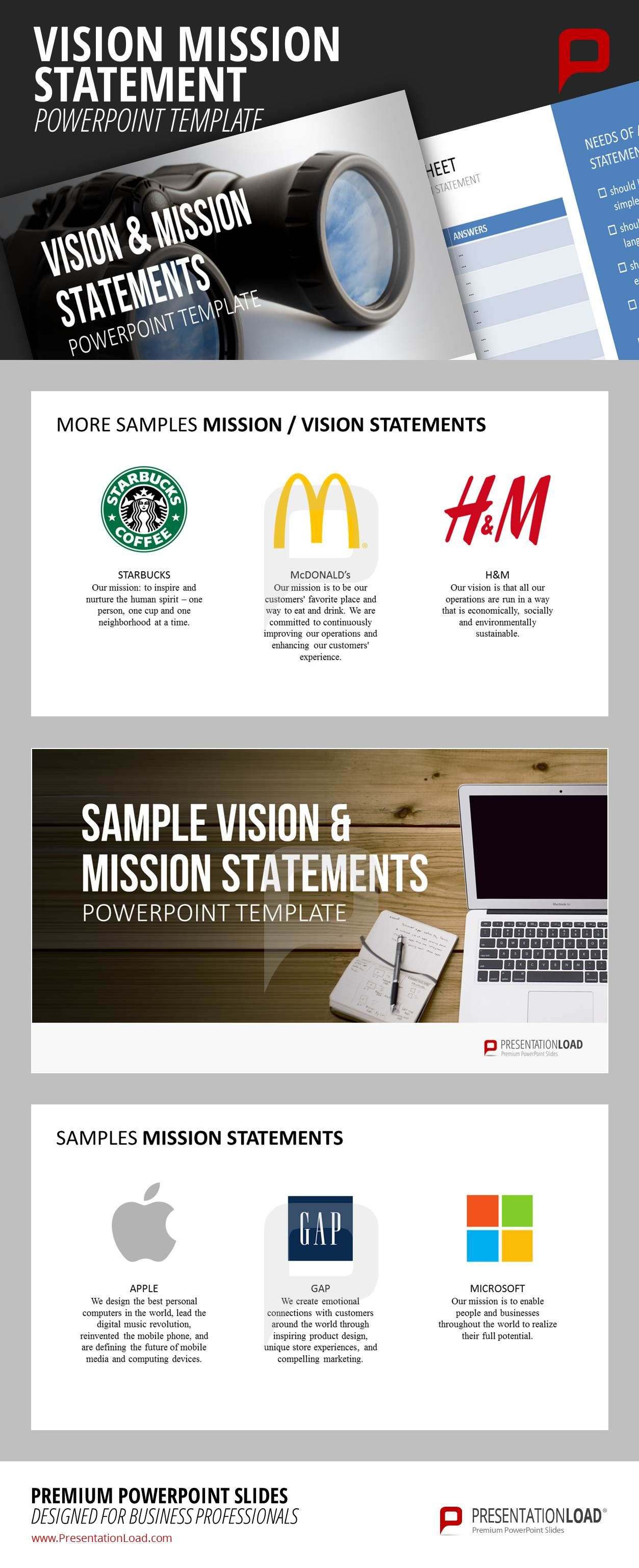 Vision  Mission Statements Powerpoint Template  Leadership