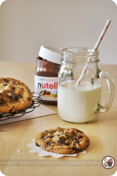 Nutella-stuffed, browned butter, sea salt-infused chocolate chunk cookies