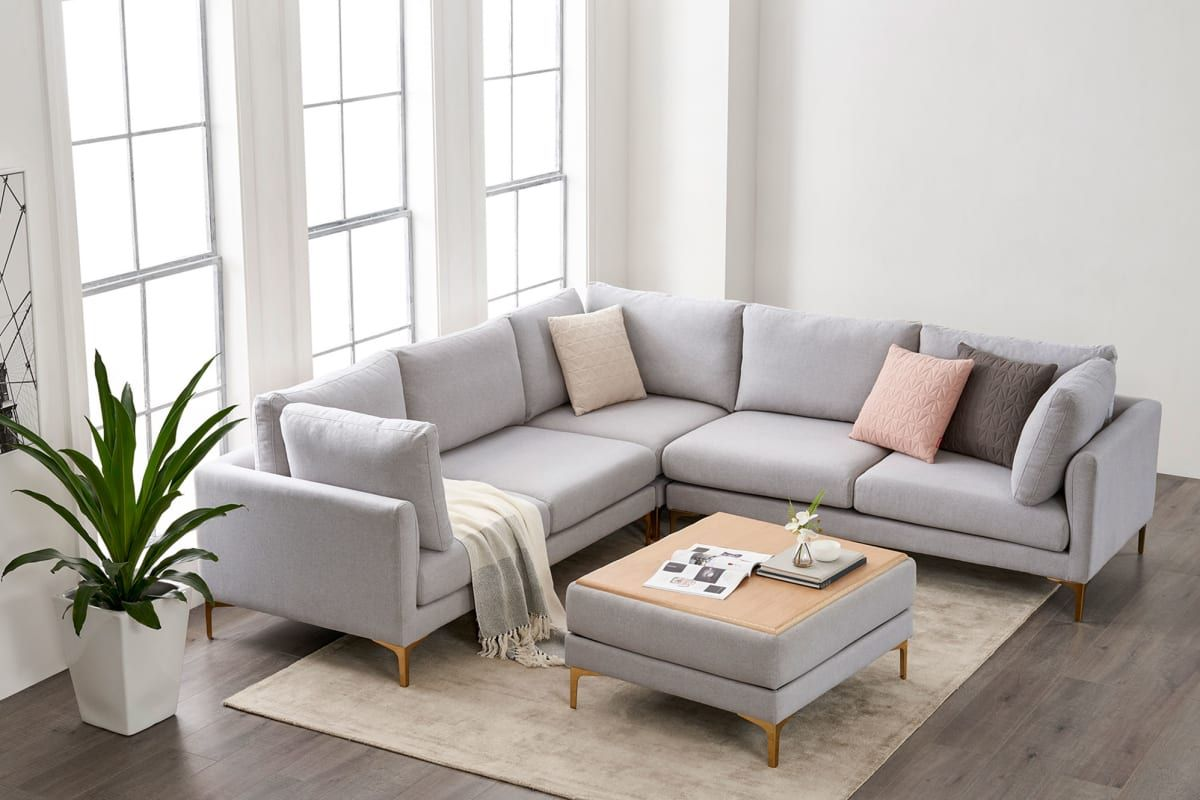 Adams L Shape Sectional Sofa Dove Gray Brass Castlery In 2021 Living Room Sofa Design Sectional Living Room Layout Living Room Sofa Set