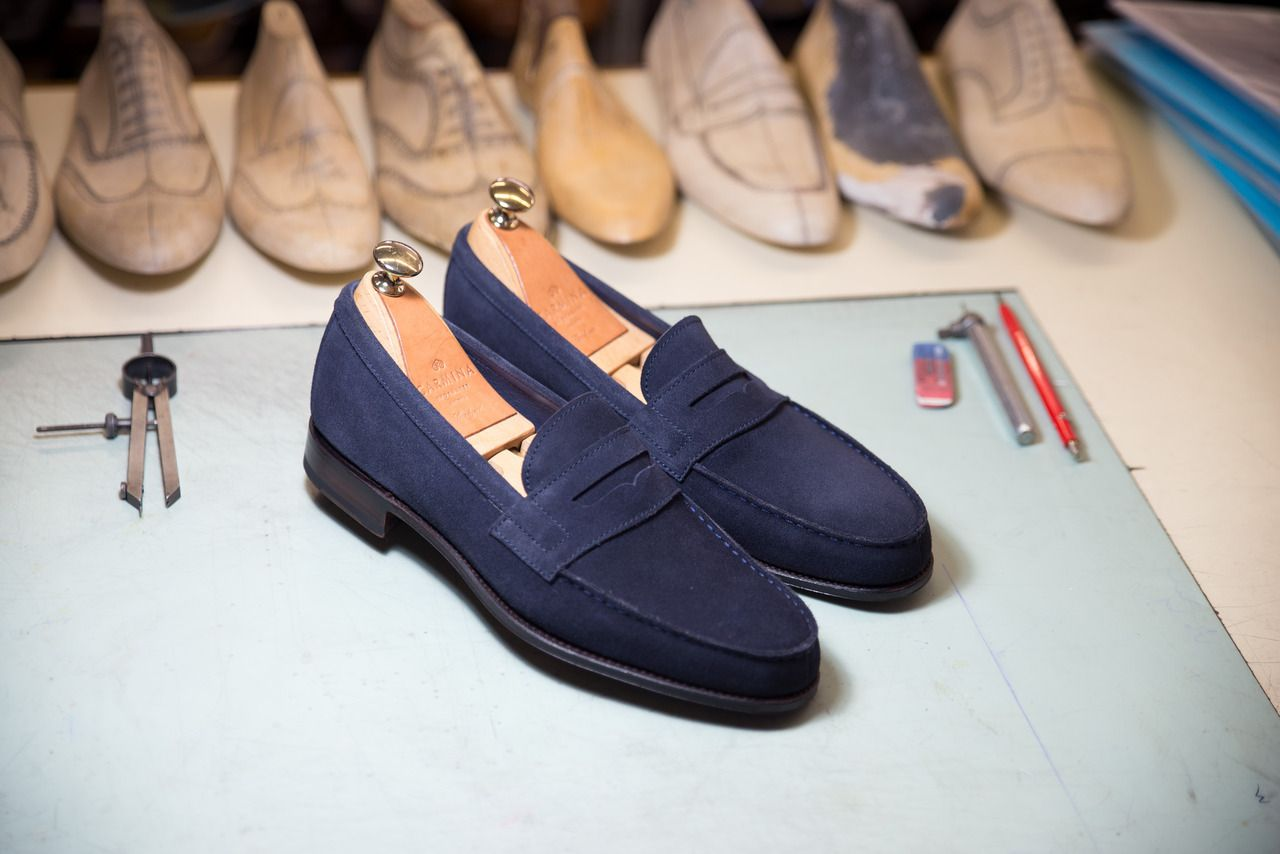 c51b59b2eb2 Carmina shoemaker — PENNY LOAFERS 80579 GENOVA IN NAVY SUEDE ...