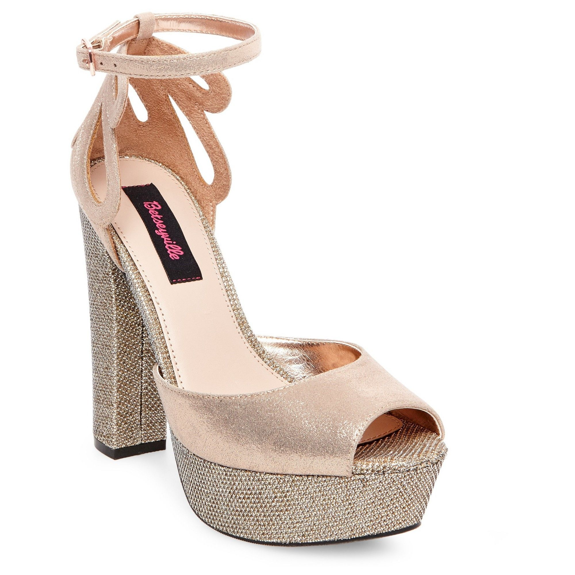 fb6398cd58a2 Women s Betseyville Daisy Glitter Mesh Platform Block Heel Sandals - Rose  Gold 8.5