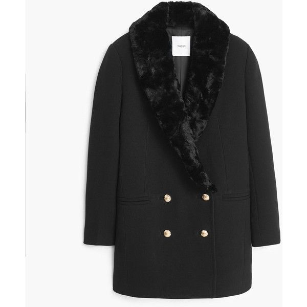 Double-Breasted Coat (£48) ❤ liked on Polyvore featuring outerwear, coats, black, fur coat, double-breasted coat, mango coat, long sleeve coat and fur-lined coats