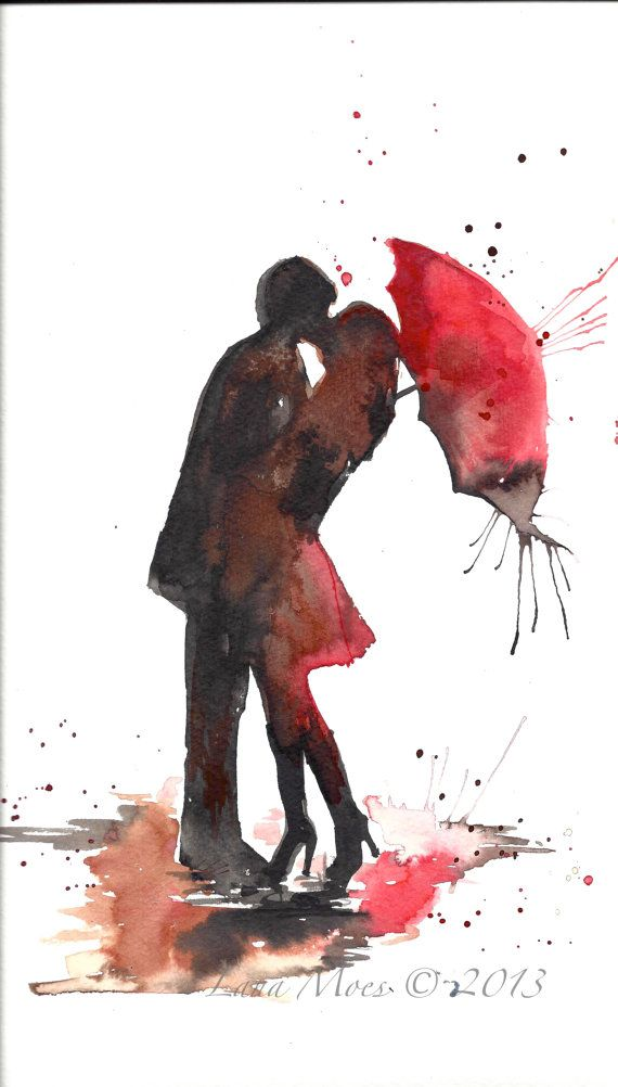Love Paris Romance Kiss Red Umbrella Original Watercolor Painting