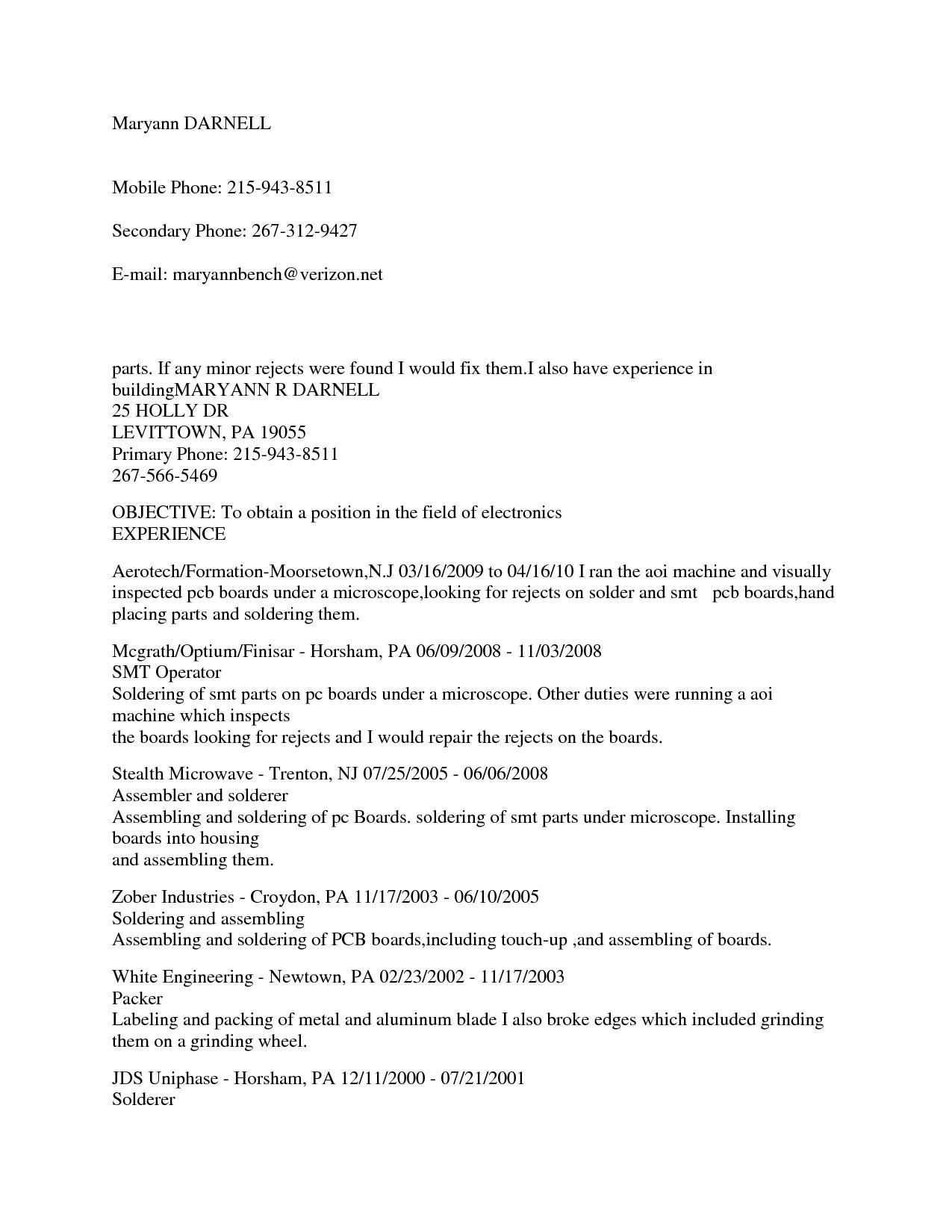 Electronic Assembler Resume Sample - Contegri.com