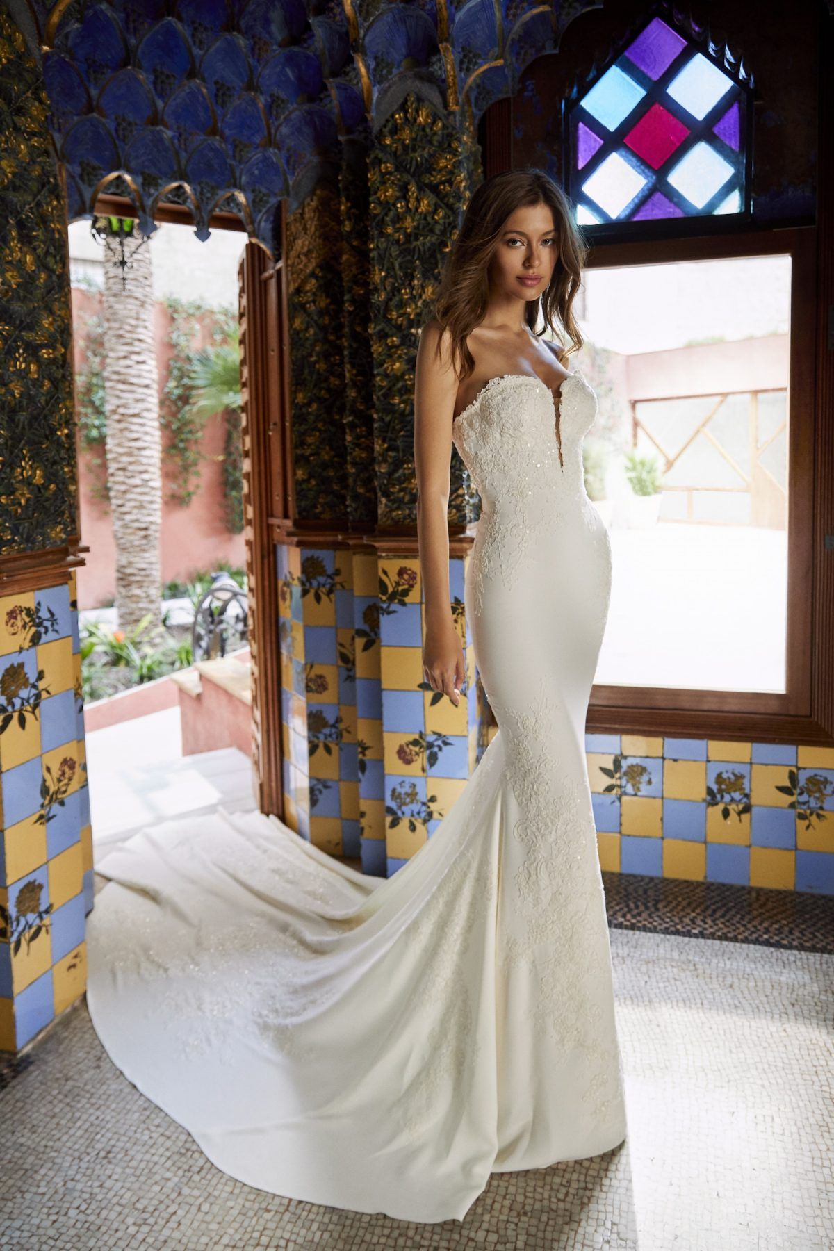 Beaded sheath wedding dress  Simple sweetheart crepe sheath wedding dress with beading and