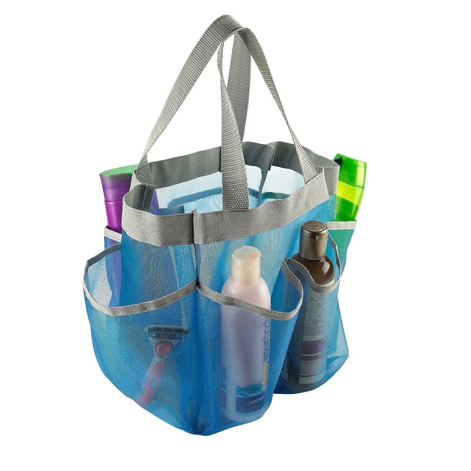 Mesh Shower Caddy Tote Bathroom Organizer, Light Blue, 7 Pocket ...