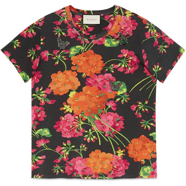 c152e727b4d Gucci Acid Blooms Print Cotton Tee ( 565) ❤ liked on Polyvore featuring  tops