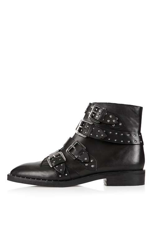 Elegant Studded Buckle Leather Ankle Boots