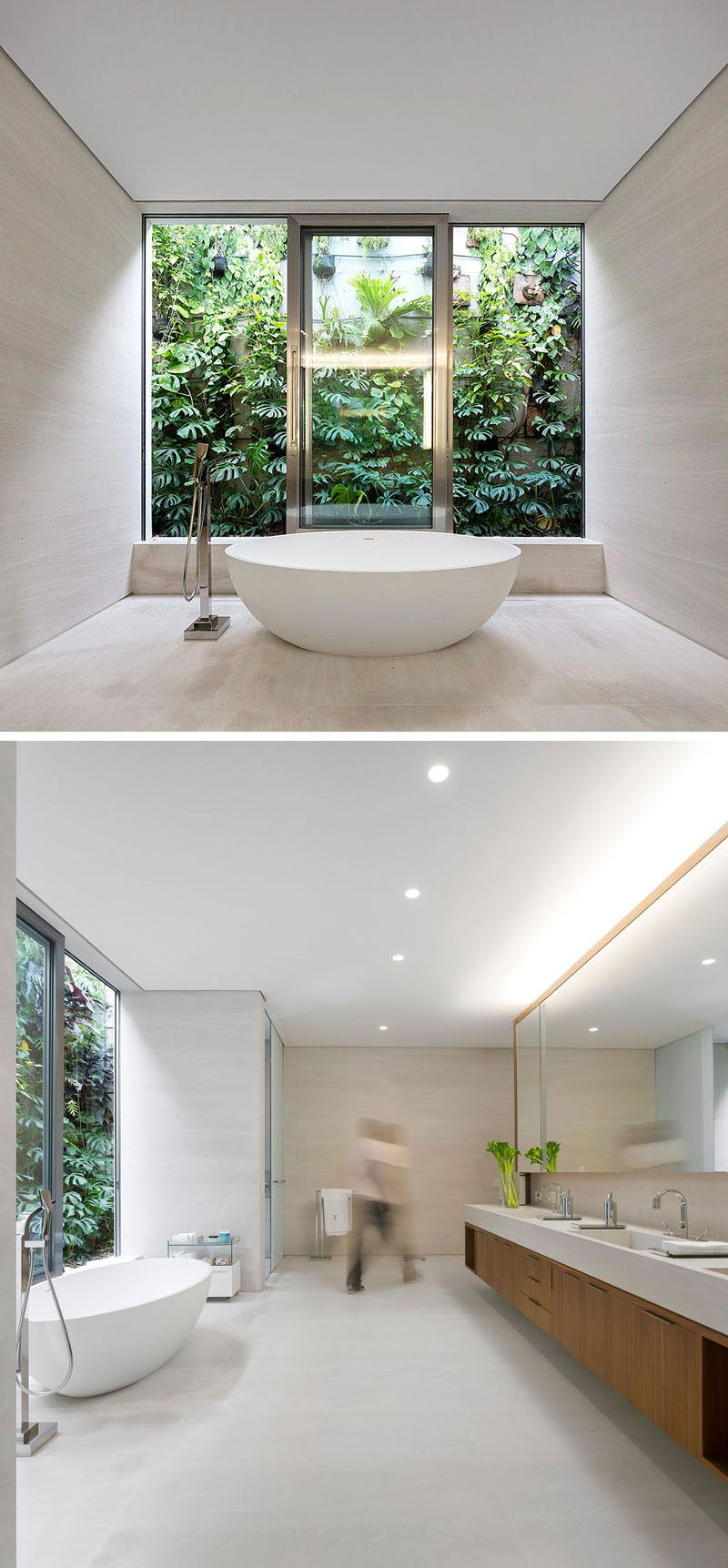 This master bathroom has the bathtub positioned to take advantage of ...