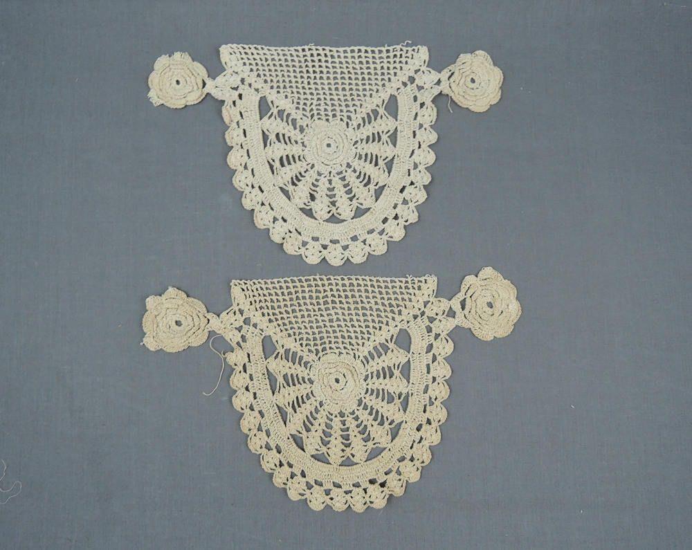 2 Vintage Lace Appliques, Antique Victorian or Edwardian Crochet Lace Dress Decorations 10x7 inches by dandelionvintage on Etsy