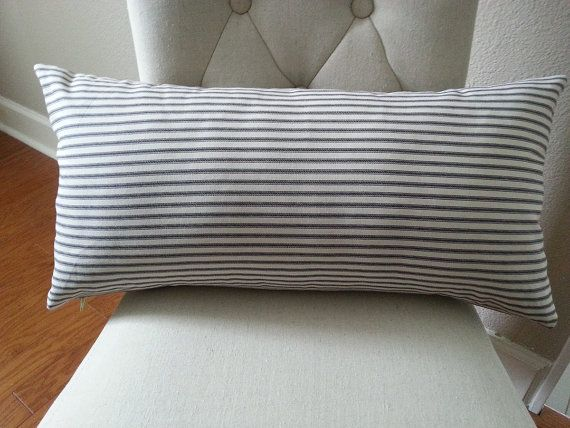 A 12 X 24 Lumbar Pillow In Your Choice Of Ticking Fabric Colors Pillow Insert Is Included In Price Fabric Screen Long Lumbar Pillow Long Pillow Pillows