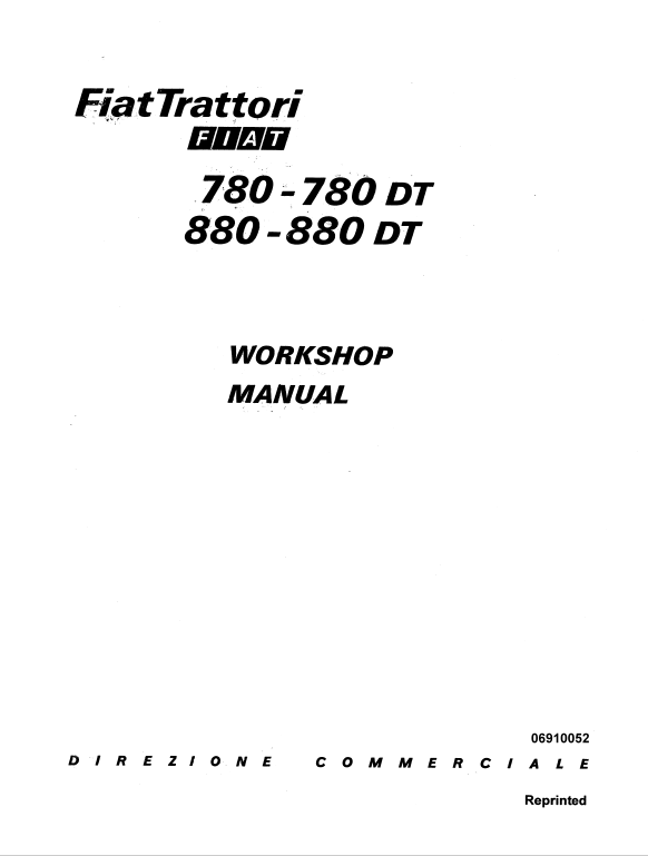 Fiat 780, 780DT, 880, 880DT Tractor Service Manual (With