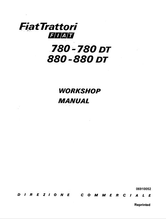 Fiat 780 780dt 880 880dt Tractor Service Manual Fiat Tractors Manual