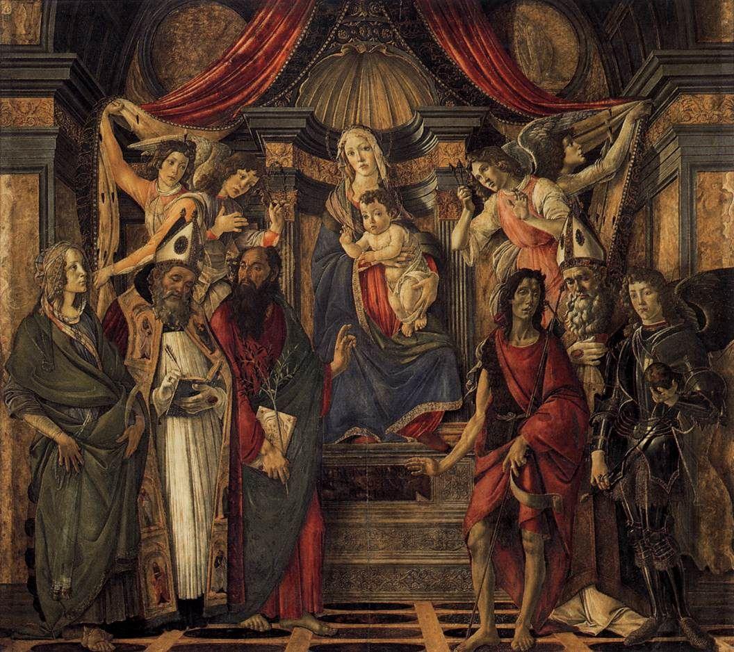 Sandro Botticelli ~ Madonna en Kind met vier engelen en zes heiligen (Pala di San Barnaba) ~ ca. 1488 ~ Tempera op hout ~ 268 x 280 cm. ~ Galleria degli Uffizi, Florence