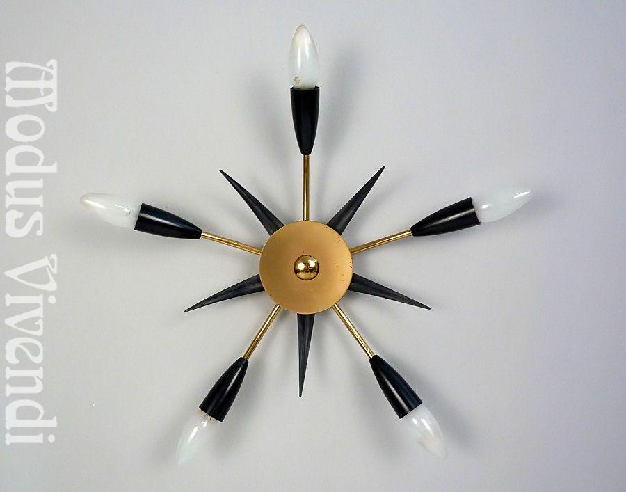 grau schwarz goldene messing sputnik spinnen lampe spider lamp vintage 50er 60er ebay design. Black Bedroom Furniture Sets. Home Design Ideas