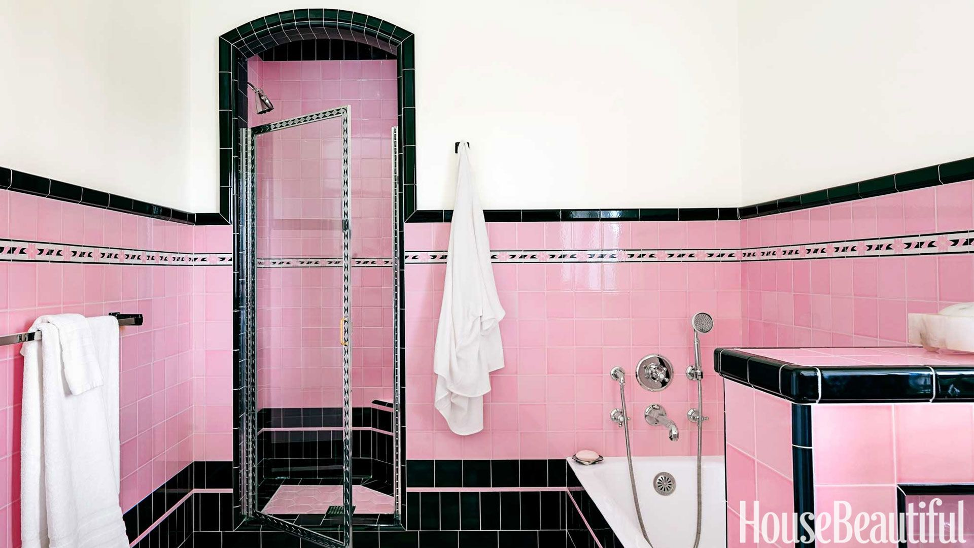 Two Bathrooms with Bold Tile | Vintage Pink Home | Pinterest | House ...
