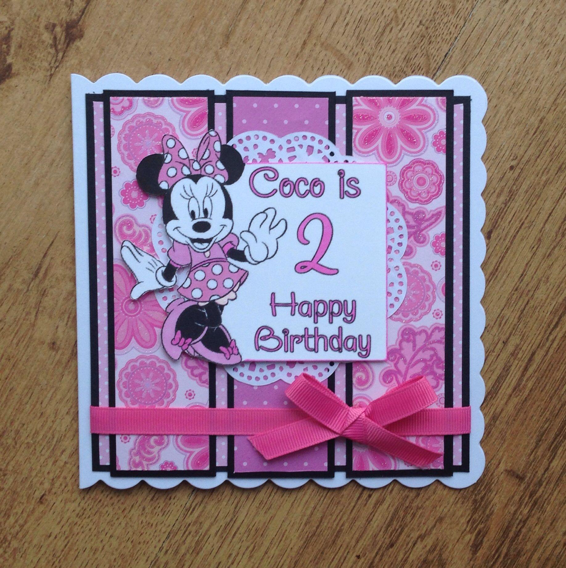 Handmade Card Minnie Mouse Cards Kids Birthday Cards