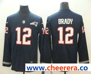 9b297aa42ad Men s New England Patriots  12 Tom Brady Nike Navy Therma Long Sleeve  Limited Jersey