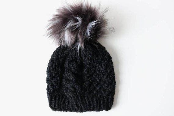 ab43002faca Knitted Cable Knit Beanie Hat with Faux Emu Fur Pom Pom. Handmade in Chunky