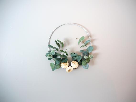 Photo of Boho Floral, Eucalyptus Wreath | Eucalyptus Wall Hanging | Flower Hoop Wreath | Hoop Wreath | Boho G