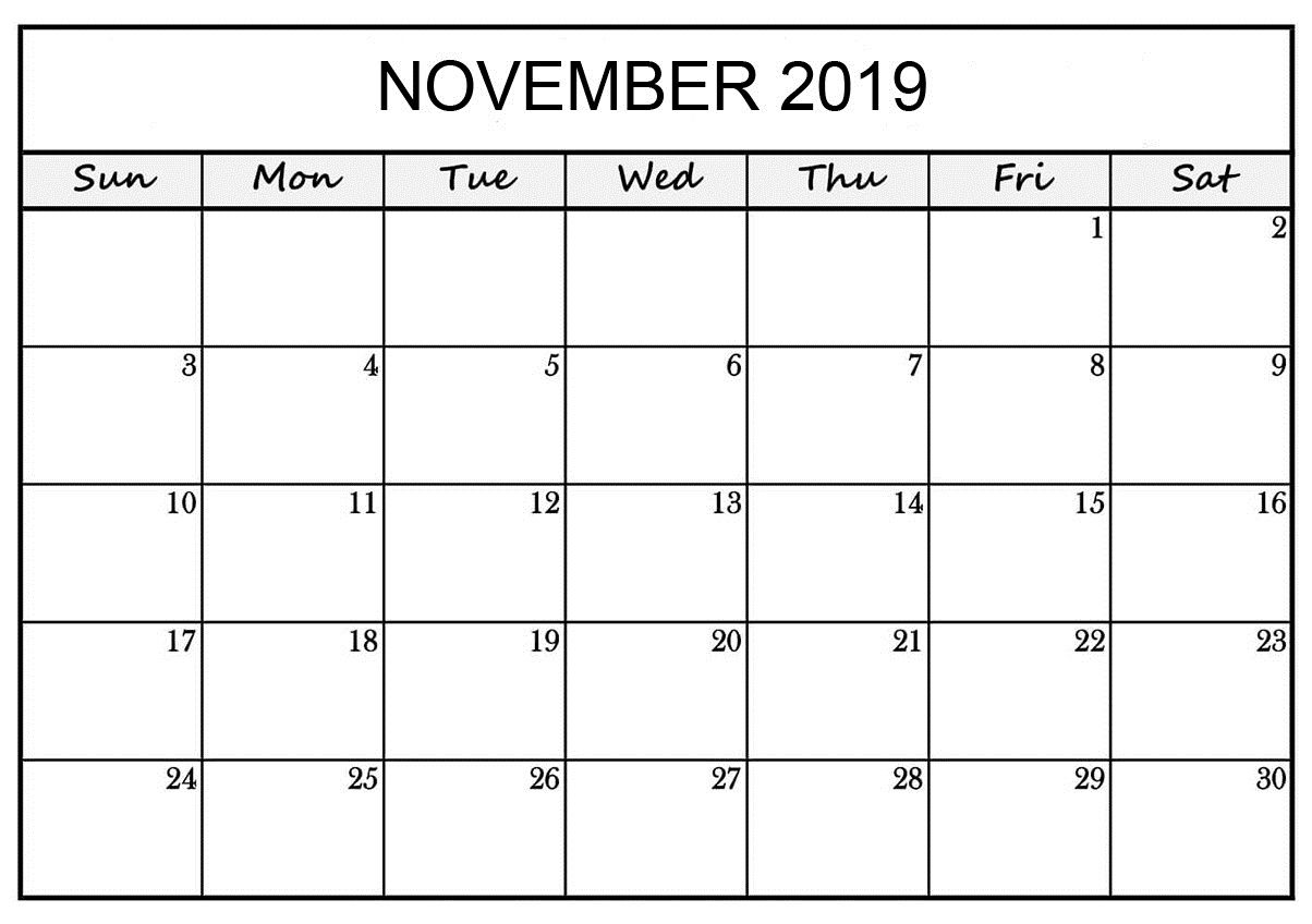 Monthly November 2019 Blank Calendar Pages Printable Template