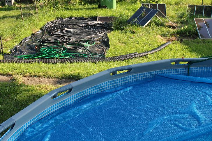 My solar pool heater. Today got up to 85 F and the water