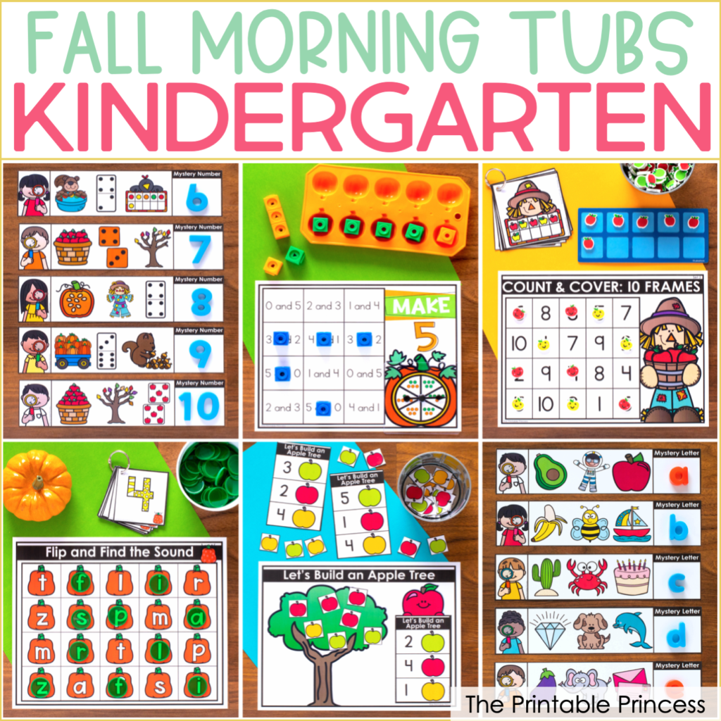 Fall Literacy And Math Tubs For Kindergarten A Freebie