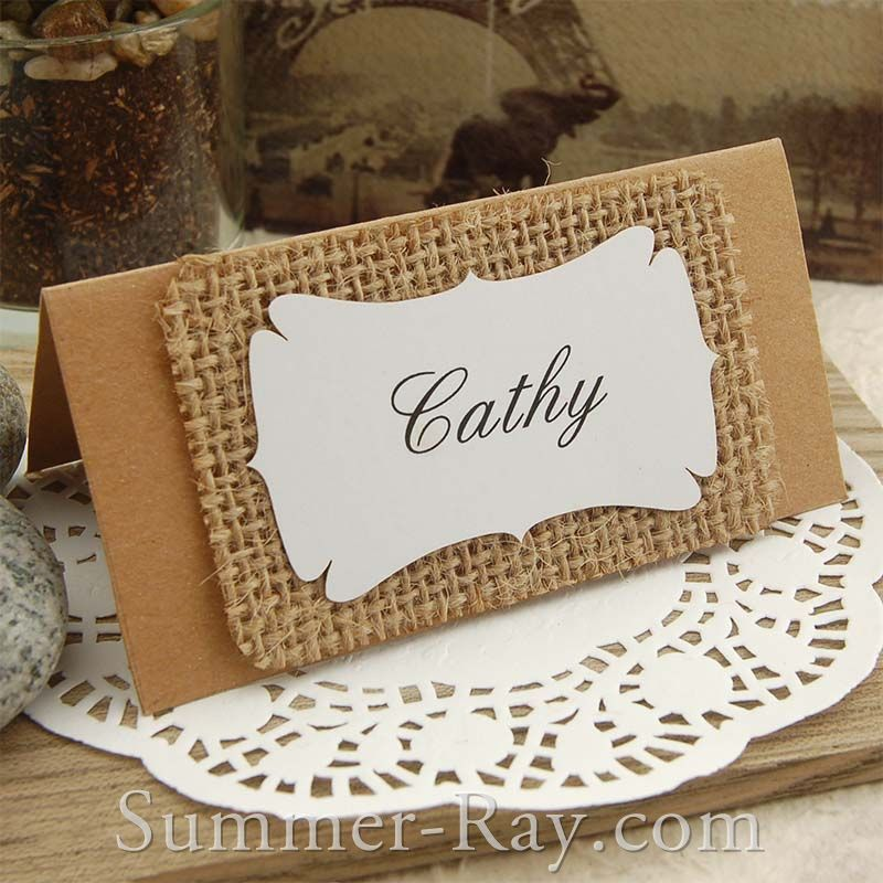 Personalized Kraft Burlap Place Cards For Rustic Hessian Country Chic Wedding